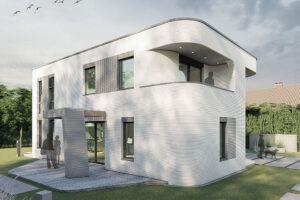 Rendering des per 3D-Betondrucks errichteten Einfamilienhauses