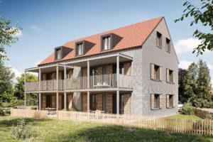 Ansicht des per 3D-Betondrucks errichteten Mehrfamilienhauses