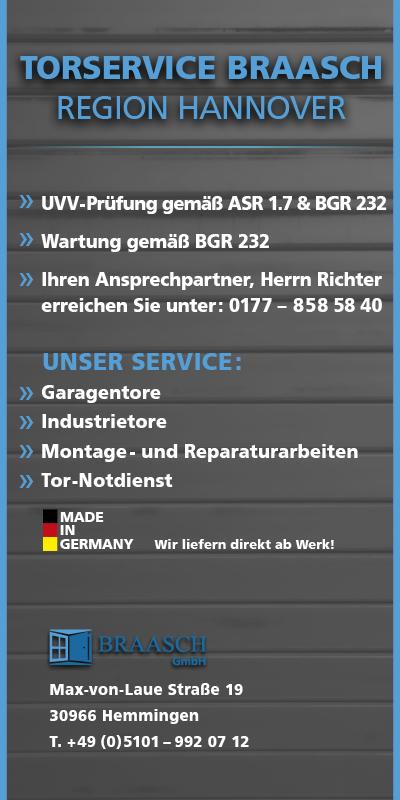 Werbung: Braasch Torservice Region Hannover